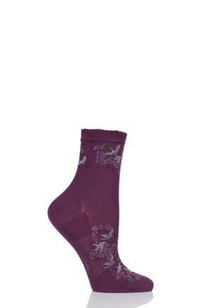Ladies 1 Pair Falke Crane Flight Cotton Socks Purple 4-5 Ladies