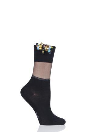 Ladies 1 Pair Falke Shiny Powder Dragonfly Cotton Socks