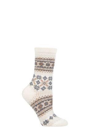 Ladies 1 Pair Falke Fair Isle Wool Socks Off White 2.5-5 Ladies