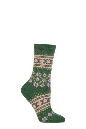 Ladies 1 Pair Falke Fair Isle Wool Socks Green 5.5-8 Ladies