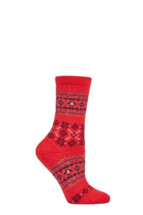 Ladies 1 Pair Falke Fair Isle Wool Socks Red 5.5-8 Ladies
