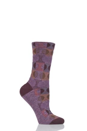 Ladies 1 Pair Falke Large Dots Cotton Blend Socks Heather 5.5-8
