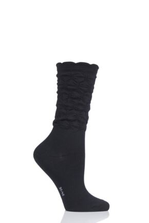 Ladies 1 Pair Falke Crumpled Diamond Rib Virgin Wool Socks