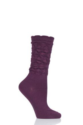 Ladies 1 Pair Falke Crumpled Diamond Rib Virgin Wool Socks Purple 5.5-8 Ladies