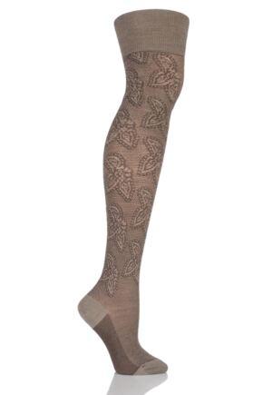 Ladies 1 Pair Falke Grace Virgin Wool Floral Embellished Over the Knee Socks
