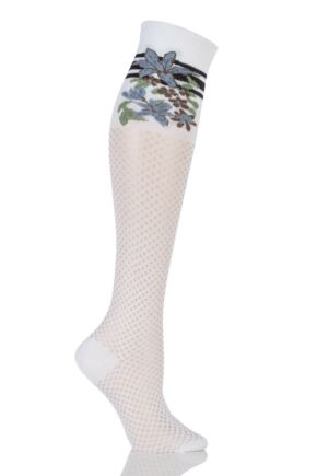Ladies 1 Pair Falke Active Floral Honeycomb Knee High Socks White 39-40