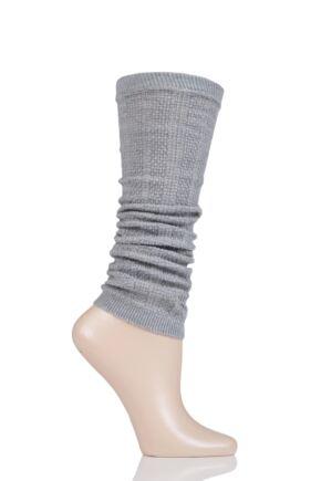 Ladies 1 Pair Falke Armour Ribbed Virgin Wool Leg Warmers Grey One Size