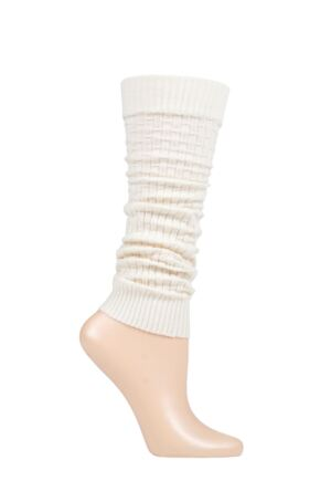 Ladies 1 Pair Falke Impulse Rib Leg Warmers Cream One Size