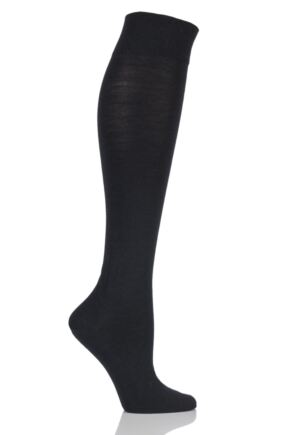 Ladies 1 Pair Falke Sensitive Berlin Merino Wool Left And Right Knee High Socks Black