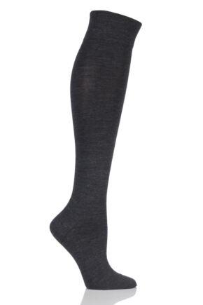 Ladies 1 Pair Falke Sensitive Berlin Merino Wool Left And Right Knee High Socks Anthracite
