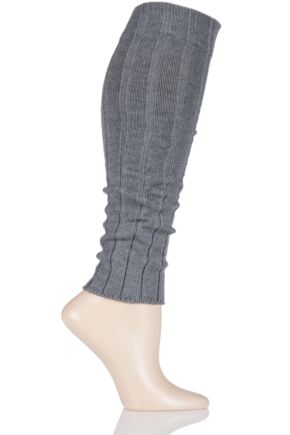 Ladies 1 Pair Falke Striggings Rib Leg Warmers Grey