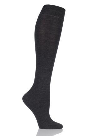 Ladies 1 Pair Falke Soft Merino Wool Knee High Socks Anthracite 37-38
