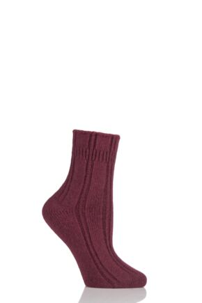 Ladies 1 Pair Falke Angora Bed Socks Garnet 35-38