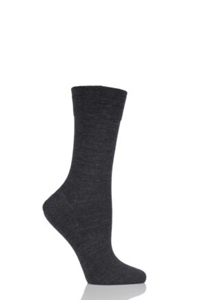 Ladies 1 Pair Falke Sensitive Berlin Merino Wool Left And Right Comfort Cuff Socks Anthracite 35-38