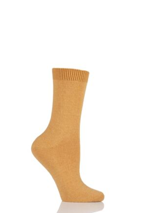 Ladies 1 Pair Falke Cosy Wool and Cashmere Socks Yellow 35-38