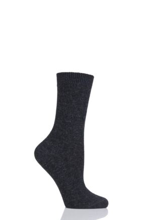 Ladies 1 Pair Falke Cosy Wool and Cashmere Socks Anthracite 5.5-8 Ladies