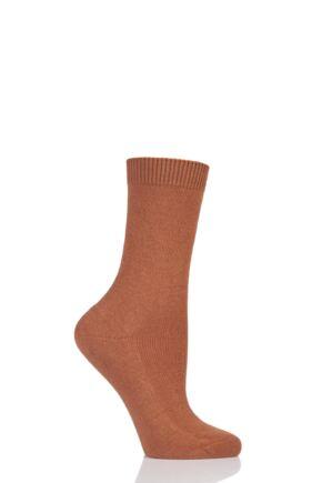 Ladies 1 Pair Falke Cosy Wool and Cashmere Socks Wood 2.5-5 Ladies