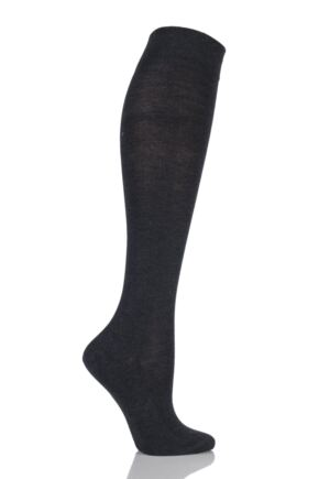Ladies 1 Pair Falke Sensitive London Left and Right Comfort Cuff Cotton Knee High Socks