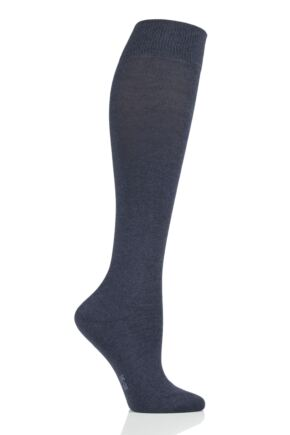 Ladies 1 Pair Falke Family Everyday Cotton Knee High Socks