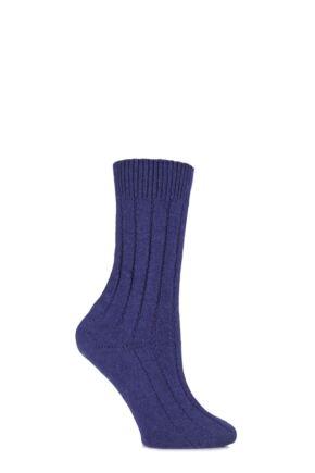 Ladies 1 Pair SockShop of London 100% Cashmere Tuckstitch Bed Socks Ametista 4-7