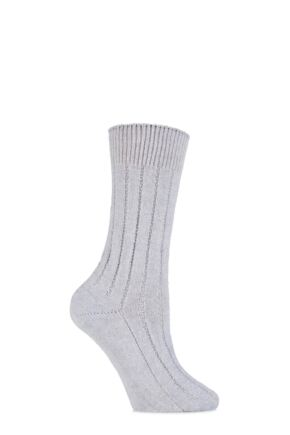 Ladies 1 Pair SockShop of London 100% Cashmere Tuckstitch Bed Socks with Smooth Toe Seams Light Heather Grey 4-7