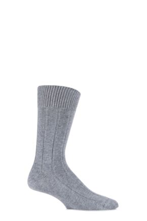 Mens 1 Pair SockShop of London 100% Cashmere Ribbed Socks Grey Flannel 8-11