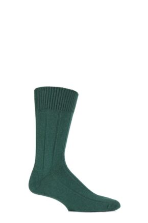 Mens 1 Pair SockShop of London 100% Cashmere Ribbed Socks Spruce 8-11