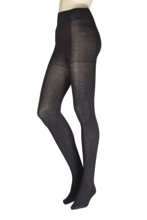Ladies 1 Pair Falke Family Combed Cotton Tights Anthracite Melange Small