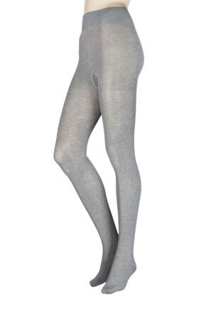 Ladies 1 Pair Falke Family Combed Cotton Tights Grey Medium / Large