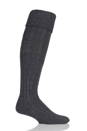 Mens 1 Pair Glenmuir Birkdale Cotton Cushioned Knee High Golf Socks Charcoal 7-11