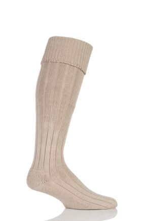 Mens 1 Pair Glenmuir Birkdale Cotton Cushioned Knee High Golf Socks Oatmeal 12-14