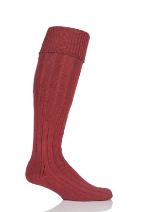 Mens 1 Pair Glenmuir Birkdale Cotton Cushioned Knee High Golf Socks Terracotta 12-14