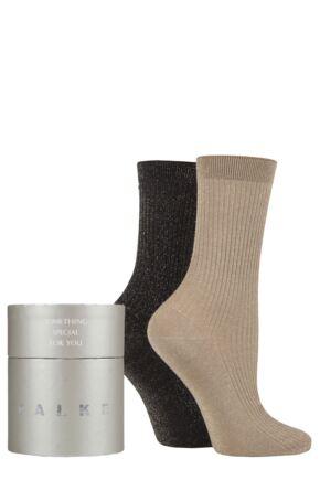 Ladies 2 Pair Falke Shiny Ribbed Gift Boxed Socks