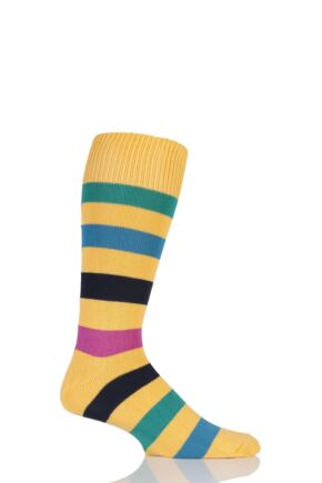Mens 1 Pair Sockshop of London Bold Broad Stripe Cotton Socks Marigold/Multi 12-14
