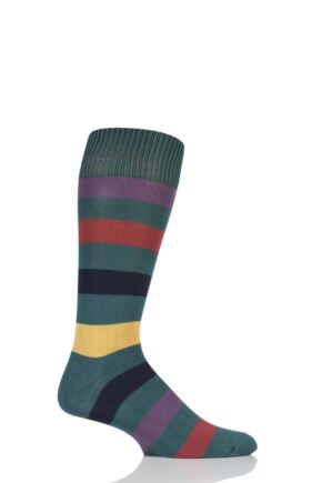 Mens 1 Pair Sockshop of London Bold Broad Stripe Cotton Socks Rich Green/Multi 12-14