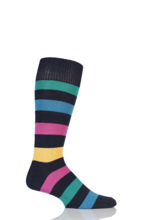 Mens 1 Pair Sockshop of London Bold Broad Stripe Cotton Socks Rich Navy/Multi 7-11