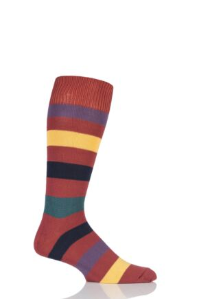 Mens 1 Pair Sockshop of London Bold Broad Stripe Cotton Socks Terracotta/Multi 12-14