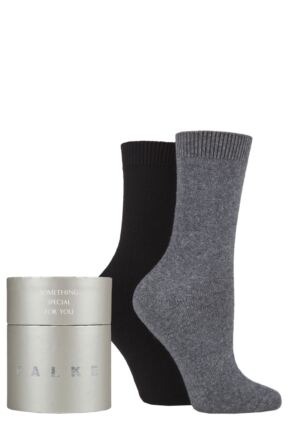Ladies 2 Pair Falke Cosy Cashmere Gift Boxed Socks