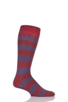 Mens 1 Pair Sockshop of London Bold Broad Stripe Cotton Socks Terracotta/Raisin 12-14