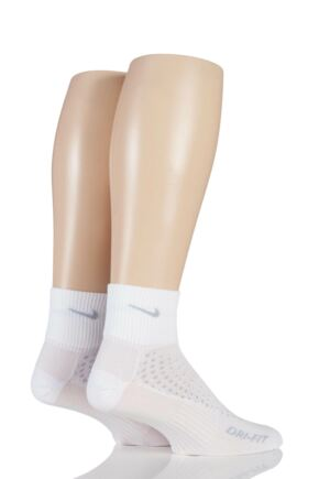 Mens and Ladies 2 Pair Nike Anti Blister Running Light Quarter Socks White S
