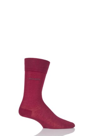 Mens 1 Pair Hugo Boss George 100% Mercerised Cotton Plain Socks Dark Red 43-44