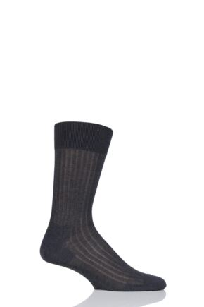 Mens 1 Pair BOSS George Ribbed Mercerised Cotton Socks