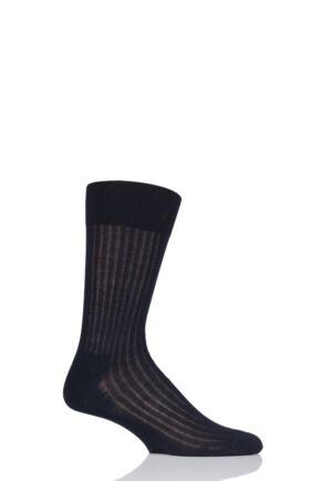 Mens 1 Pair BOSS George Ribbed Mercerised Cotton Socks