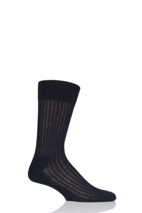 Mens 1 Pair Hugo Boss George Ribbed Mercerised Cotton Socks