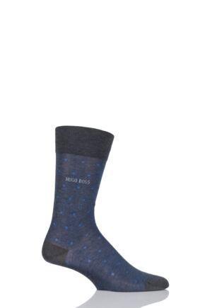 Mens 1 Pair Hugo Boss George 100% Mercerised Cotton Dotted Socks