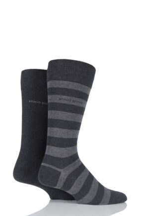 Mens 2 Pair Hugo Boss Block Striped and Plain Combed Cotton Socks Charcoal 8.5-11