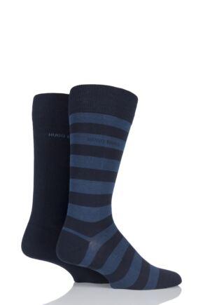 Mens 2 Pair Hugo Boss Block Striped and Plain Combed Cotton Socks Dark Blue 8.5-11