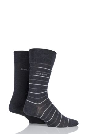 Mens 2 Pair Hugo Boss Fine Striped and Plain Mercerised Cotton Socks Charcoal 8.5-11