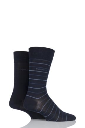 Mens 2 Pair Hugo Boss Fine Striped and Plain Mercerised Cotton Socks