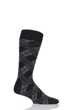 Mens 1 Pair Hugo Boss Argyle Stripe Combed Cotton Socks Black 43-46